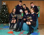 18 December 2018; The GAA today launched the innovative online GAA learning portal LCPE.ie, which supports the introduction of Physical Education at Higher and Ordinary Level in the Leaving Certificate Examination. Pictured are, from left, students from Ratoath College, Co. Meath, Karen Hayes, Harry Dalchan, Rachel Fraughen, Brian Moore, Orla Hayes and Lewis Nolan, at Croke Park in Dublin. Photo by Seb Daly/Sportsfile