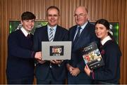 18 December 2018; The GAA today launched the innovative online GAA learning portal LCPE.ie, which supports the introduction of Physical Education at Higher and Ordinary Level in the Leaving Certificate Examination. Pictured are students from Ratoath College, Co. Meath, Brian Moore, and Rachel Fraughen, with Joe McHugh, T.D, Minister for Education and Skills, and Uachtarán Chumann Lúthchleas Gael John Horan, at Croke Park in Dublin. Photo by Seb Daly/Sportsfile