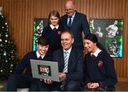 18 December 2018; The GAA today launched the innovative online GAA learning portal LCPE.ie, which supports the introduction of Physical Education at Higher and Ordinary Level in the Leaving Certificate Examination. Pictured are Joe McHugh, T.D, Minister for Education and Skills, centre, Uachtarán Chumann Lúthchleas Gael John Horan, behind, with students from Ratoath College, Co. Meath, from left, Brian Moore, Orla Hayes and Rachel Fraughen, at Croke Park in Dublin. Photo by Seb Daly/Sportsfile