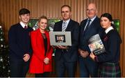 18 December 2018; The GAA today launched the innovative online GAA learning portal LCPE.ie, which supports the introduction of Physical Education at Higher and Ordinary Level in the Leaving Certificate Examination. Pictured are students from Ratoath College, Co. Meath, Brian Moore, left, and Rachel Fraughen, right, with their PE Teacher Ciara Casey, alongside Joe McHugh, T.D, Minister for Education and Skills, and Uachtarán Chumann Lúthchleas Gael John Horan, at Croke Park in Dublin. Photo by Seb Daly/Sportsfile