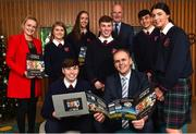 18 December 2018; The GAA today launched the innovative online GAA learning portal LCPE.ie, which supports the introduction of Physical Education at Higher and Ordinary Level in the Leaving Certificate Examination. Pictured are, from left, Ciara Casey, PE Teacher, Ratoath College, students Orla Hayes, Brian Moore, Karen Hayes, Lewis Nolan, Harry Dalchan and Rachel Fraughen, with Joe McHugh, T.D, Minister for Education and Skills, and Uachtarán Chumann Lúthchleas Gael John Horan, at Croke Park in Dublin. Photo by Seb Daly/Sportsfile