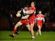 20 December 2018; Rory Brennan of Tyrone in action against Ryan Bell of Derry during the Bank of Ireland Dr. McKenna Cup Round 1 match between Derry and Tyrone at Celtic Park, Derry. Photo by Oliver McVeigh/Sportsfile