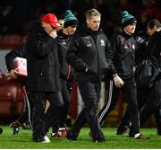 20 December 2018; Tyrone manager Mickey Harte, left, Darragh Canavan of Tyrone, son of former Tyrone player Peter Canvan, Gavin Devlin Tyrone assistant manager and Matthew Murnaghan come off at half time of the Bank of Ireland Dr. McKenna Cup Round 1 match between Derry and Tyrone at Celtic Park, Derry. Photo by Oliver McVeigh/Sportsfile