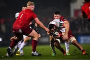 21 December 2018; John Cooney of Ulster is tackled by Conor Oliver of Munster during the Guinness PRO14 Round 11 match between Ulster and Munster at the Kingspan Stadium in Belfast. Photo by Ramsey Cardy/Sportsfile