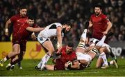 21 December 2018; Kevin O'Byrne of Munster is tackled by Stuart McCloskey, left, and Marcell Coetzee of Ulster during the Guinness PRO14 Round 11 match between Ulster and Munster at the Kingspan Stadium in Belfast. Photo by Oliver McVeigh/Sportsfile