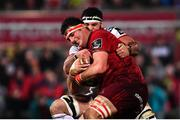 21 December 2018; Jean Kleyn of Munster is tackled by Marcell Coetzee of Ulster during the Guinness PRO14 Round 11 match between Ulster and Munster at the Kingspan Stadium in Belfast. Photo by Ramsey Cardy/Sportsfile