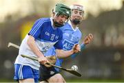 22 December 2018; Aidan Mellett of Dubs Stars in action against Luke Walsh of Dublin during the Annual Dubs Stars Hurling Challenge match between Dublin and Dubs Stars at Naomh Barróg in Dublin. Photo by Piaras Ó Mídheach/Sportsfile