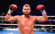 22 December 2018; Billy Joe Saunders celebrates after defeating Charles Agamu in their middleweight bout at the Manchester Arena in Manchester, England. Photo by David Fitzgerald/Sportsfile