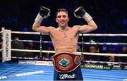 22 December 2018; Michael Conlan celebrates after defeating Jason Cunningham in their Featherweight bout at the Manchester Arena in Manchester, England. Photo by David Fitzgerald/Sportsfile
