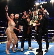 22 December 2018; Lisa N'Dam, wife of Hassam N'Dam runs into the ring to take a selfie of their team after he defeated Martin Murray in their middleweight bout at the Manchester Arena in Manchester, England. Photo by David Fitzgerald/Sportsfile