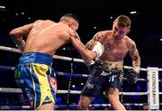 22 December 2018; Carl Frampton, right, in action against Josh Warrington during their IBF World Featherweight title bout at the Manchester Arena in Manchester, England. Photo by David Fitzgerald/Sportsfile