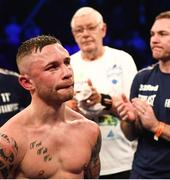 22 December 2018; A dejected Carl Frampton following his defeat to Josh Warrington in their IBF World Featherweight title bout at the Manchester Arena in Manchester, England. Photo by David Fitzgerald/Sportsfile