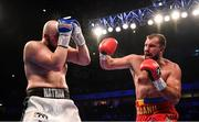 22 December 2018; Alex Lapai, right, in action against Nathan Gorman during their heavyweight bout at the Manchester Arena in Manchester, England. Photo by David Fitzgerald/Sportsfile