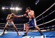 22 December 2018; Tommy Fury, left, in action against Jevgenijs Andrejev during their light-heavyweight bout at the Manchester Arena in Manchester, England. Photo by David Fitzgerald/Sportsfile