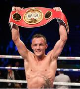 22 December 2018; Josh Warrington celebrates after defeating Carl Frampton in their IBF World Featherweight title bout at the Manchester Arena in Manchester, England. Photo by David Fitzgerald/Sportsfile
