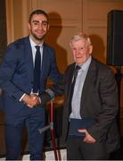 22 December 2018; James Mccarthy of Dublin presents a medal to Buster Leahy, a member of the 1958 All Ireland winning Dublin team, who were guests of honour at presentation of the 2108 GAA Football All-Ireland Senior Championship medals at the InterContinental Dublin, Simmonscourt Road, Ballsbridge, Dublin Photo by Ray McManus/Sportsfile