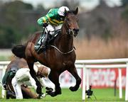 27 December 2018; Sir Erec, with Mark Walsh up, on their way to winning the Paddy Power `Only 363 Days Till Christmas` 3-Y-O Maiden Hurdle after jumping the last during Day 2 of the Leopardstown Festival at Leopardstown racecourse in Dublin. Photo by Matt Browne/Sportsfile