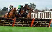 27 December 2018; Eventual winner Sir Erec, centre, with Mark Walsh up, leads the field ahead of Tiger Tap Tap, left, with Ruby Walsh up, during the Paddy Power 'Only 363 Days Till Christmas' 3-Y-O Maiden Hurdle during day two of the Leopardstown Festival at Leopardstown Racecourse in Dublin. Photo by Eóin Noonan/Sportsfile