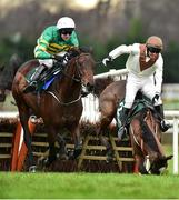 27 December 2018; Bachelor, with Noel McParlan up, falls at the last as eventual winner Sir Erec, with Mark Walsh up, goes on to win the Paddy Power `Only 363 Days Till Christmas` 3-Y-O Maiden Hurdle during Day 2 of the Leopardstown Festival at Leopardstown racecourse in Dublin. Photo by Matt Browne/Sportsfile