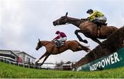 28 December 2018; Gun Digger, with Jack Kennedy up, left, clear the last ahead of Borderline Chatho, who did not finish, with Donagh Meyler up, on their way to winning the Ballymaloe Foods Beginners Steeplechase during day three of the Leopardstown Festival at Leopardstown Racecourse in Dublin. Photo by David Fitzgerald/Sportsfile