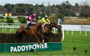 28 December 2018; Gun Digger, with Jack Kennedy up, left, clear the last ahead of Borderline Chatho, who fell at the last, with Donagh Meyler up, on their way to winning the Ballymaloe Foods Beginners Steeplechase during day three of the Leopardstown Festival at Leopardstown Racecourse in Dublin. Photo by David Fitzgerald/Sportsfile