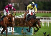 28 December 2018; Borderline Chato, right, with Donagh Meyler up, falls after jumping the last as Gun Digger, with Jack Kennedy up, goes on to win the Ballymaloe Foods Beginners Steeplechase during day three of the Leopardstown Festival at Leopardstown racecourse in Dublin. Photo by Barry Cregg/Sportsfile