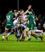28 December 2018; Darren Cave of Ulster makes a linebreak despite the efforts of Connacnht players, including Bundee Aki, left, and Colby Fainga'a, during the Guinness PRO14 Round 12 match between Connacht and Ulster at the Sportsground in Galway. Photo by John Dickson/Sportsfile