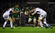 28 December 2018; Quinn Roux of Connacht, supported by team mate Bundee Aki, left, in action against Ulster players, from left, Darren Cave, Kieran Treadwell and Eric O'Sullivan, behind, during the Guinness PRO14 Round 12 match between Connacht and Ulster at the Sportsground in Galway. Photo by Piaras Ó Mídheach/Sportsfile