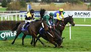 29 December 2018; Crocodile Dundee, with Conor Brassil up, centre, falls at the last alongside Sweet Destination, with Sean O'Keefe up, left, and Tyrell's Succes, with J.B. Kane, right, during the Adare Manor Opportunity Handicap Steeplechase during day four of the Leopardstown Festival at Leopardstown Racecourse in Dublin. Photo by David Fitzgerald/Sportsfile