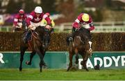29 December 2018; Delta Work, left, with Davy Russell up, races ahead of Mortal, with Mark Walsh up, as they land badly at the last, on their way to winning the Neville Hotels Novice Steeplechase during day four of the Leopardstown Festival at Leopardstown Racecourse in Dublin. Photo by Barry Cregg/Sportsfile