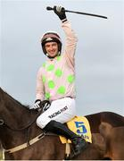 29 December 2018; Jockey Patrick Mullins celebrates on Sharjah after winning the Ryanair Hurdle during day four of the Leopardstown Festival at Leopardstown Racecourse in Dublin. Photo by Barry Cregg/Sportsfile