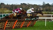 29 December 2018; Sharjah, with Patrick Mullins up, right, jump the last ahead of Samcro, with Jack Kennedy up, centre, and Tombstone, with Davy Russell up, on their way to winning the Ryanair Hurdle during day four of the Leopardstown Festival at Leopardstown Racecourse in Dublin. Photo by David Fitzgerald/Sportsfile