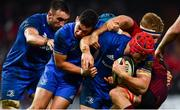 29 December 2018; Leinster players, from right, Josh van der Flier, Noel Reid and Jack Conan during the Guinness PRO14 Round 12 match between Munster and Leinster at Thomond Park in Limerick. Photo by Ramsey Cardy/Sportsfile
