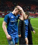 29 December 2018; Rory O'Loughlin, left, and Luke McGrath of Leinster after the Guinness PRO14 Round 12 match between Munster and Leinster at Thomond Park in Limerick. Photo by Diarmuid Greene/Sportsfile
