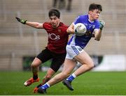 30 December 2018; Mark Stuart of Cavan in action against Conor Poland of Down during the Bank of Ireland Dr McKenna Cup Round 1 match between Cavan and Down at Kingspan Breffni Park in Cavan. Photo by Harry Murphy/Sportsfile