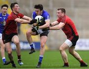 30 December 2018; Conor Moynagh of Cavan in action against Conor Francis, left, and Brendan McArdle of Down during the Bank of Ireland Dr McKenna Cup Round 1 match between Cavan and Down at Kingspan Breffni Park in Cavan. Photo by Harry Murphy/Sportsfile