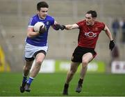 30 December 2018; Thomas Galligan of Cavan in action against Rory Mason of Down during the Bank of Ireland Dr McKenna Cup Round 1 match between Cavan and Down at Kingspan Breffni Park in Cavan. Photo by Harry Murphy/Sportsfile