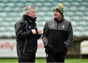30 December 2018; Donegal selector Stephen Rochford, left, along with Donegal manager Declan Bonner before the Bank of Ireland Dr McKenna Cup Round 1 match between Donegal and QUB at MacCumhaill Park in Ballybofey, Donegal. Photo by Oliver McVeigh/Sportsfile