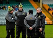 30 December 2018; Donegal management, from left, manager Declan Bonner, assistant manager Paul McGonigle, coach Gary Boyle and selector Stephen Rochford before the Bank of Ireland Dr McKenna Cup Round 1 match between Donegal and QUB at MacCumhaill Park in Ballybofey, Donegal. Photo by Oliver McVeigh/Sportsfile