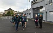 30 December 2018; Donegal players led by Paddy McGrath and Eoin Ban Gallagher arrive for the Bank of Ireland Dr McKenna Cup Round 1 match between Donegal and QUB at MacCumhaill Park in Ballybofey, Donegal. Photo by Oliver McVeigh/Sportsfile
