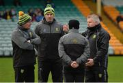 30 December 2018; The Donegal management team, from left, manager Declan Bonner, assistant manager Paul McGonigle, coach Gary Boyle and selector Stephen Rochford before the Bank of Ireland Dr McKenna Cup Round 1 match between Donegal and QUB at MacCumhaill Park in Ballybofey, Donegal.  Photo by Oliver McVeigh/Sportsfile