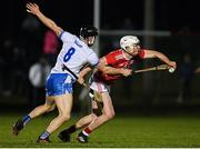 2 January 2019; David Griffin of Cork is tackled by Jamie Barron of Waterford during the Co-Op Superstores Munster Hurling League 2019 match between Cork and Waterford at Mallow GAA Grounds in Mallow, Co. Cork.  Photo by Eóin Noonan/Sportsfile