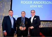 5 January 2019; The Sean O'Brien Hall of Fame Award winner, Roger Anderson of Athy RFC, centre, is presented his award by Leinster Rugby player Sean O'Brien, left, and John Smith of BEST Mens Wear during the Leinster Rugby Junior Lunch at the Ballsbridge Hotel in Dublin. The Leinster Rugby Junior Lunch was held in the Ballsbridge Hotel this afternoon. This is the second year that the lunch has been held in celebration of Junior Rugby in Leinster. Photo by Harry Murphy/Sportsfile