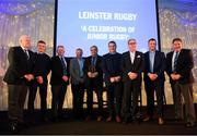 5 January 2019; In attendance, from left, Chairman of the Junior Committee Tom Duffy, Leinster Rugby player Josh van der Flier, Senior Vice President of the Leinster Branch Robert Deacon, Ireland Rugby head coach Joe Schmidt, Sean O'Brien Hall of Fame Award winner Roger Anderson of Athy RFC  Leinster Rugby Player Peter Dooley, John Smith of BEST Mens Wear Leinster Rugby player Sean O'Brien and Former Leinster Rugby President Robert McDermott during the Leinster Rugby Junior Lunch at the Ballsbridge Hotel in Dublin. The Leinster Rugby Junior Lunch was held in the Ballsbridge Hotel this afternoon. This is the second year that the lunch has been held in celebration of Junior Rugby in Leinster. Photo by Harry Murphy/Sportsfile
