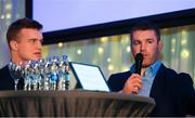 5 January 2019; Leinster Rugby players Sean O'Brien, right, and Josh van der Flier talk during the Leinster Rugby Junior Lunch at the Ballsbridge Hotel in Dublin. The Leinster Rugby Junior Lunch was held in the Ballsbridge Hotel this afternoon. This is the second year that the lunch has been held in celebration of Junior Rugby in Leinster. Photo by Harry Murphy/Sportsfile