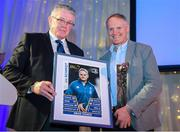 5 January 2019; Senior Vice President of the Leinster Branch Robert Deacon, left, presents an award to Ireland Rugby head coach Joe Schmidt during the Leinster Rugby Junior Lunch at the Ballsbridge Hotel in Dublin. The Leinster Rugby Junior Lunch was held in the Ballsbridge Hotel this afternoon. This is the second year that the lunch has been held in celebration of Junior Rugby in Leinster. Photo by Harry Murphy/Sportsfile
