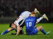 5 January 2019; James Hume of Ulster is tackled by Max Deegan, left, and Ciarán Frawley of Leinster during the Guinness PRO14 Round 13 match between Leinster and Ulster at the RDS Arena in Dublin. Photo by Seb Daly/Sportsfile