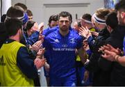 5 January 2019; Leinster captain Rob Kearney leads his side out ahead of the Guinness PRO14 Round 13 match between Leinster and Ulster at the RDS Arena in Dublin. Photo by Ramsey Cardy/Sportsfile