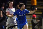 5 January 2019; Conor O'Brien of Leinster celebrates after scoring his side's second try during the Guinness PRO14 Round 13 match between Leinster and Ulster at the RDS Arena in Dublin. Photo by Brendan Moran/Sportsfile