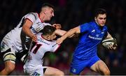 5 January 2019; Conor O'Brien of Leinster is tackled by Matthew Dalton, left, and Angus Kernohan of Ulster on his way to scoring his side's third try  during the Guinness PRO14 Round 13 match between Leinster and Ulster at the RDS Arena in Dublin. Photo by Ramsey Cardy/Sportsfile
